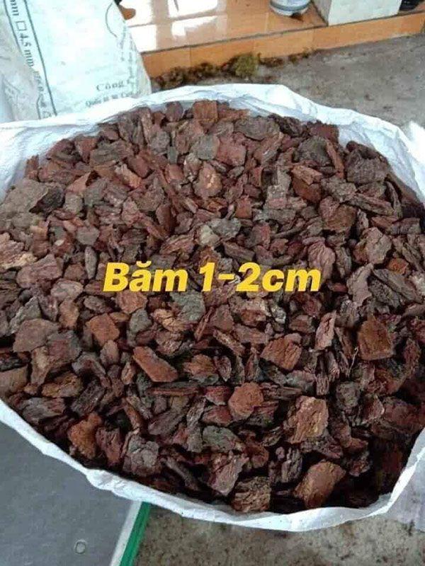 Giá thể lan bằng gỗ thông đỏ băm 1-2cm.